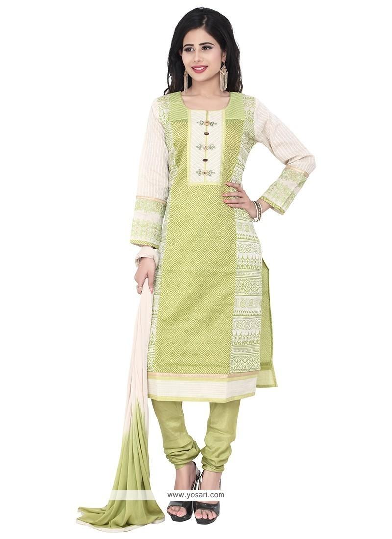 Exuberant Green Chanderi Designer Suit