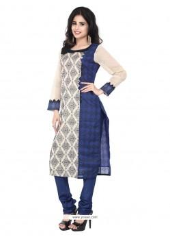 Magnetize Chanderi Blue Embroidered Work Designer Suit