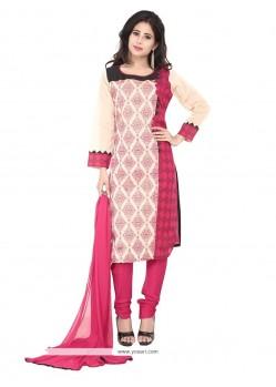 Hypnotizing Chanderi Hot Pink And Off White Patch Border Work Designer Suit