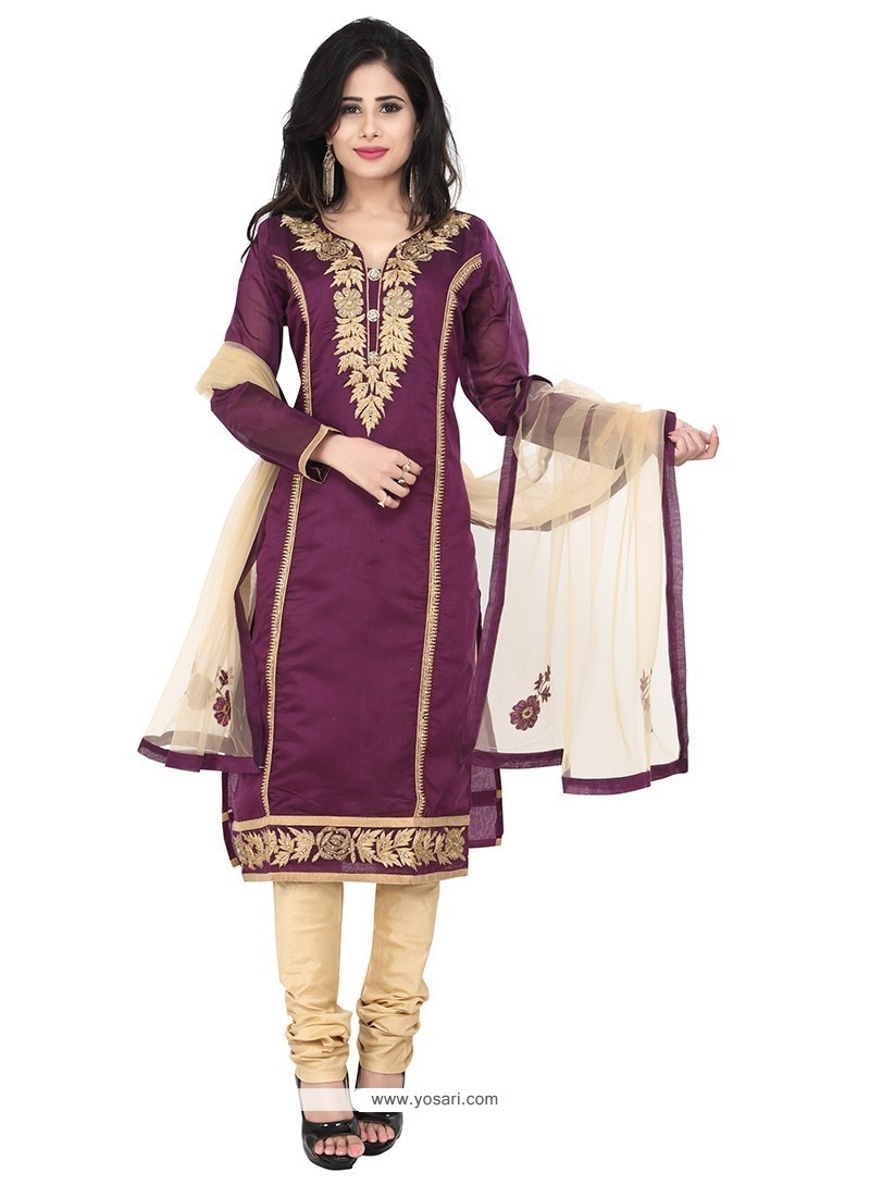 Beautiful Patch Border Work Chanderi Purple Designer Suit
