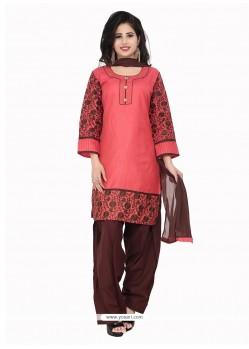 Hot Pink Cotton Designer Suit