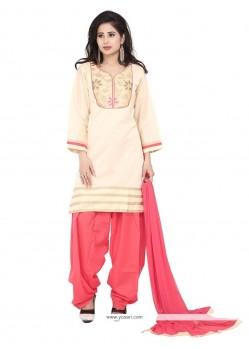 Jazzy Cream Patch Border Work Chanderi Designer Suit