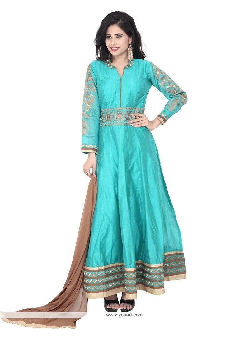 Chic Chanderi Embroidered Work Designer Suit