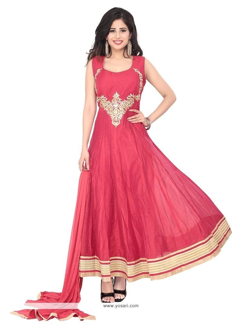 Masterly Hot Pink Embroidered Work Chanderi Designer Suit