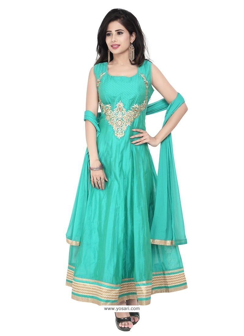 Competent Chanderi Patch Border Work Designer Suit