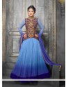 Charming Blue Shaded Georgette Anarkali Suit