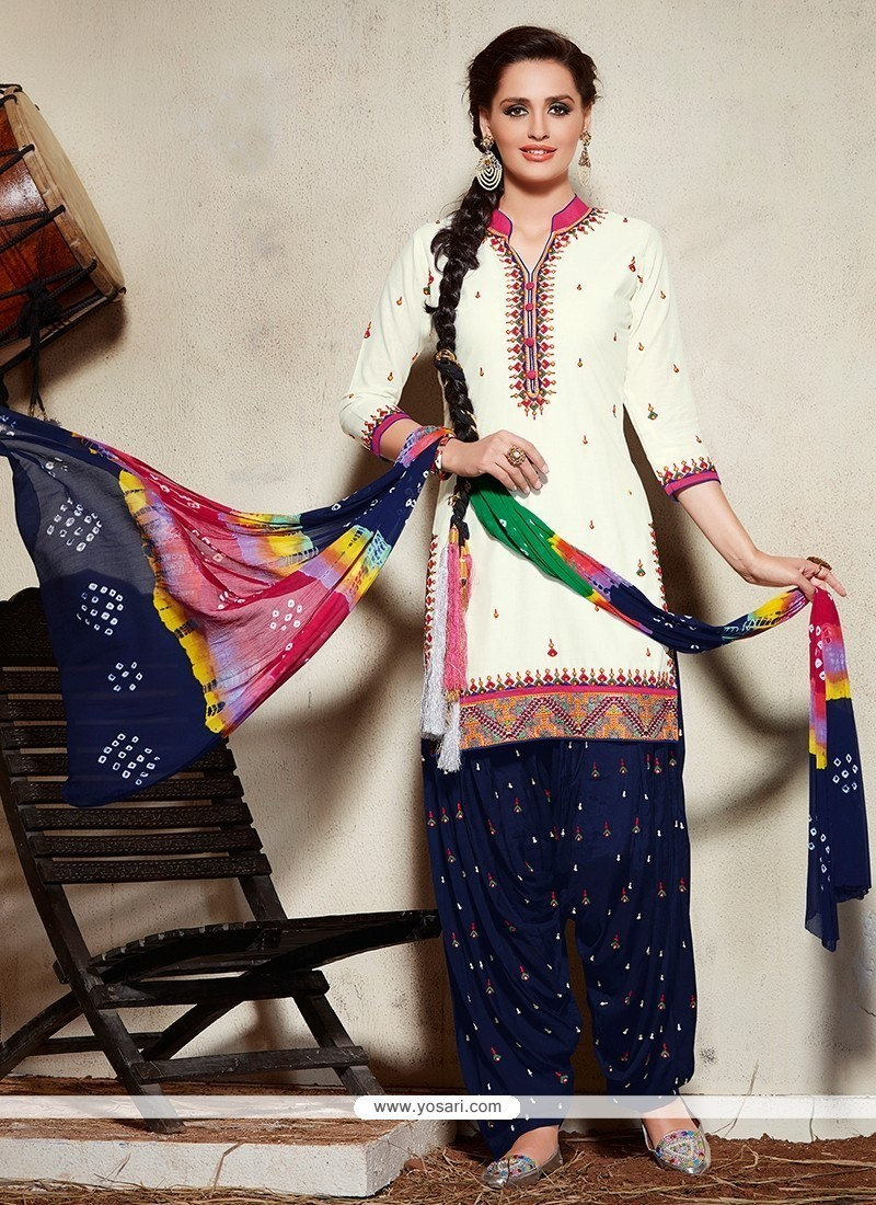 Pristine Cotton Embroidered Work Punjabi Suit