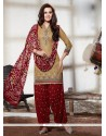 Compelling Beige Embroidered Work Cotton Punjabi Suit