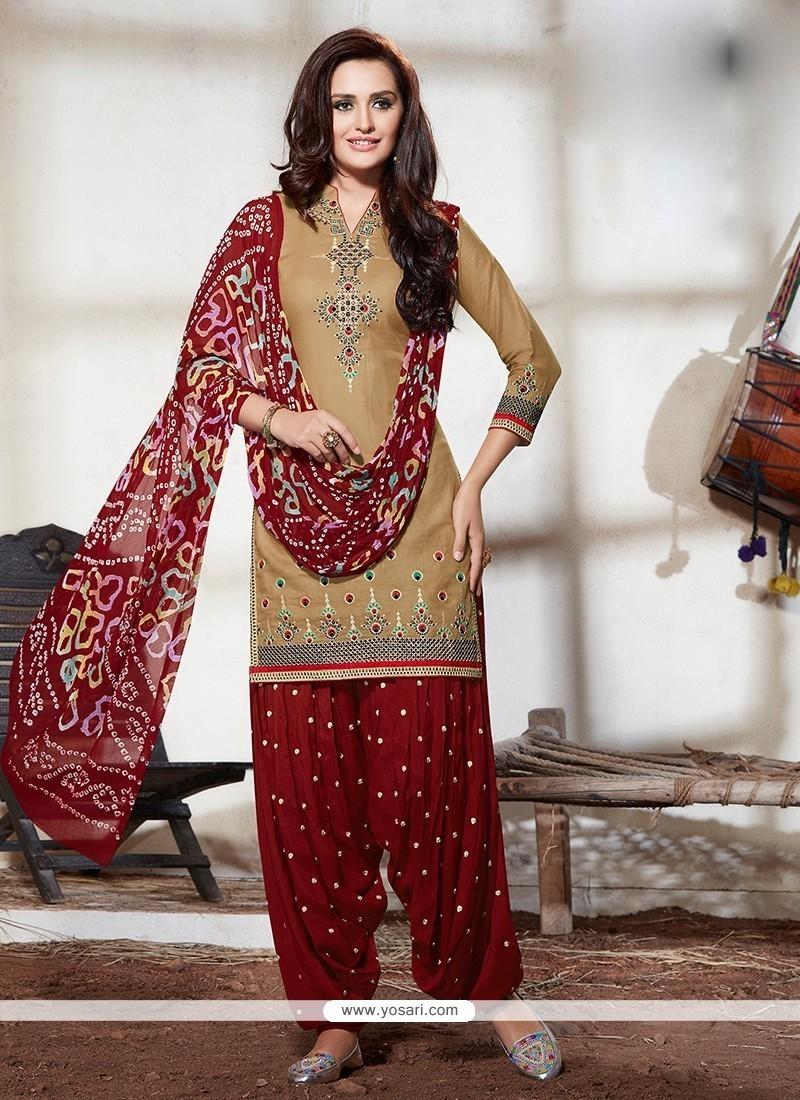 2508d55e47 Shop online Buy Compelling Beige Embroidered Work Cotton Designer ...