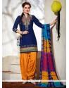 Exceeding Blue Embroidered Work Cotton Punjabi Suit