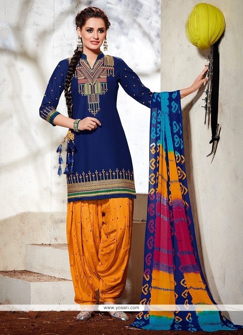 e2f0e997d3 Shop online Buy Exceeding Blue Embroidered Work Cotton Designer Suit ...