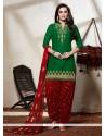 Impeccable Cotton Green Punjabi Suit