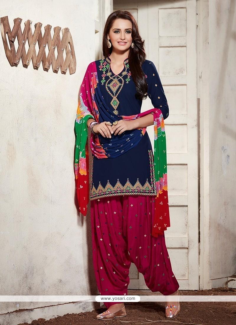 Demure Cotton Embroidered Work Punjabi Suit