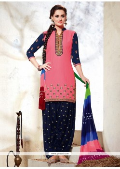 Praiseworthy Embroidered Work Pink Punjabi Suit