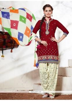 Genius Red Cotton Punjabi Salwar Suit