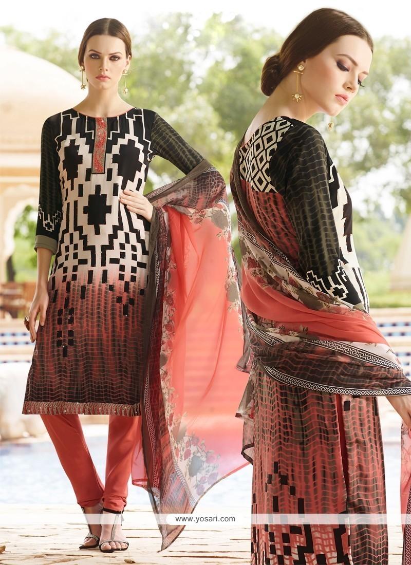 Elegant Multi Colour Faux Crepe Churidar Designer Suit