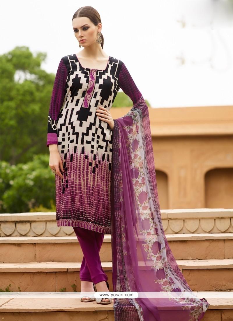 Luxurious Multi Colour Print Work Faux Crepe Churidar Designer Suit