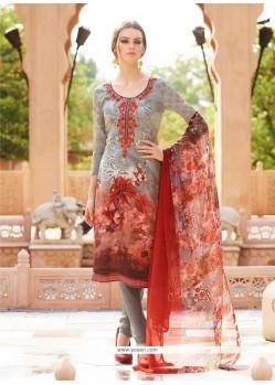 Multi Colour Faux Crepe Churidar Designer Suit