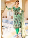 Intriguing Faux Crepe Multi Colour Churidar Designer Suit