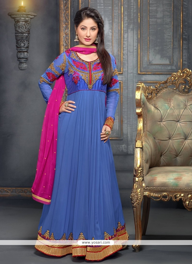 Blue Embroidery Work Anarkali Suit