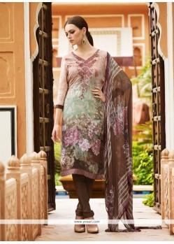 Grandiose Print Work Multi Colour Churidar Designer Suit