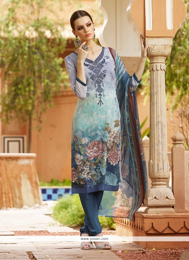 Angelic Embroidered Work Multi Colour Churidar Designer Suit