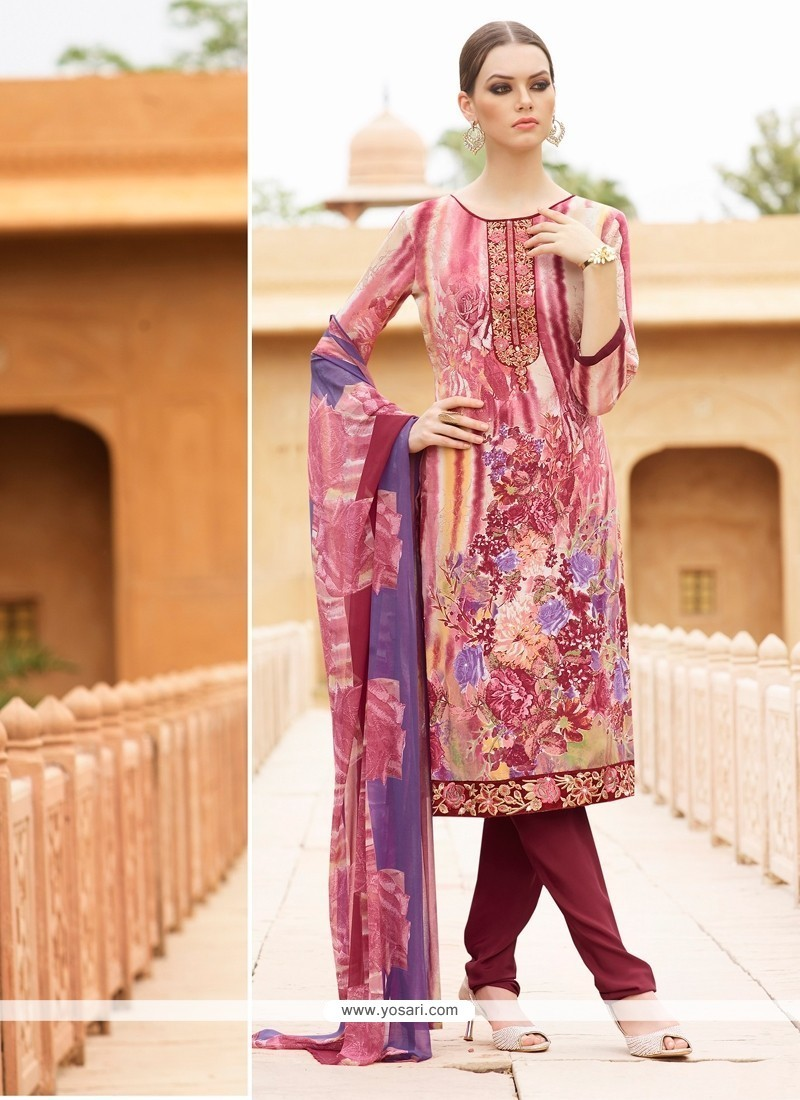 Spectacular Faux Crepe Multi Colour Embroidered Work Churidar Designer Suit