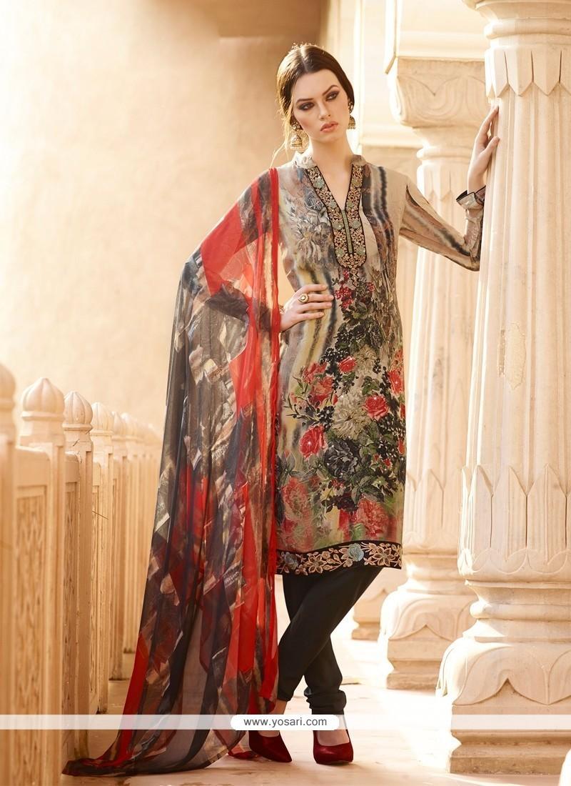 f9af5f9e17 Miraculous Multi Colour Print Work Faux Crepe Churidar Designer Suit