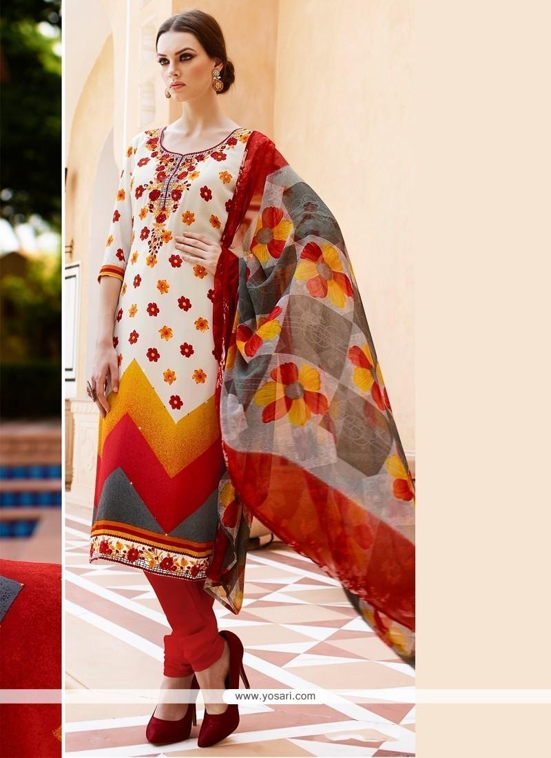 Flamboyant Embroidered Work Faux Crepe Multi Colour Churidar Designer Suit