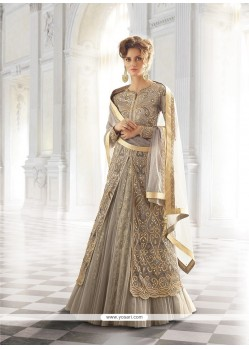 Prominent Net Grey Designer A Line Lehenga Choli