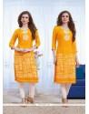 Fab Yellow Print Work Georgette Party Wear Kurti