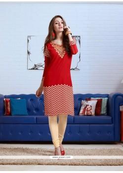 Genius Georgette Red Party Wear Kurti