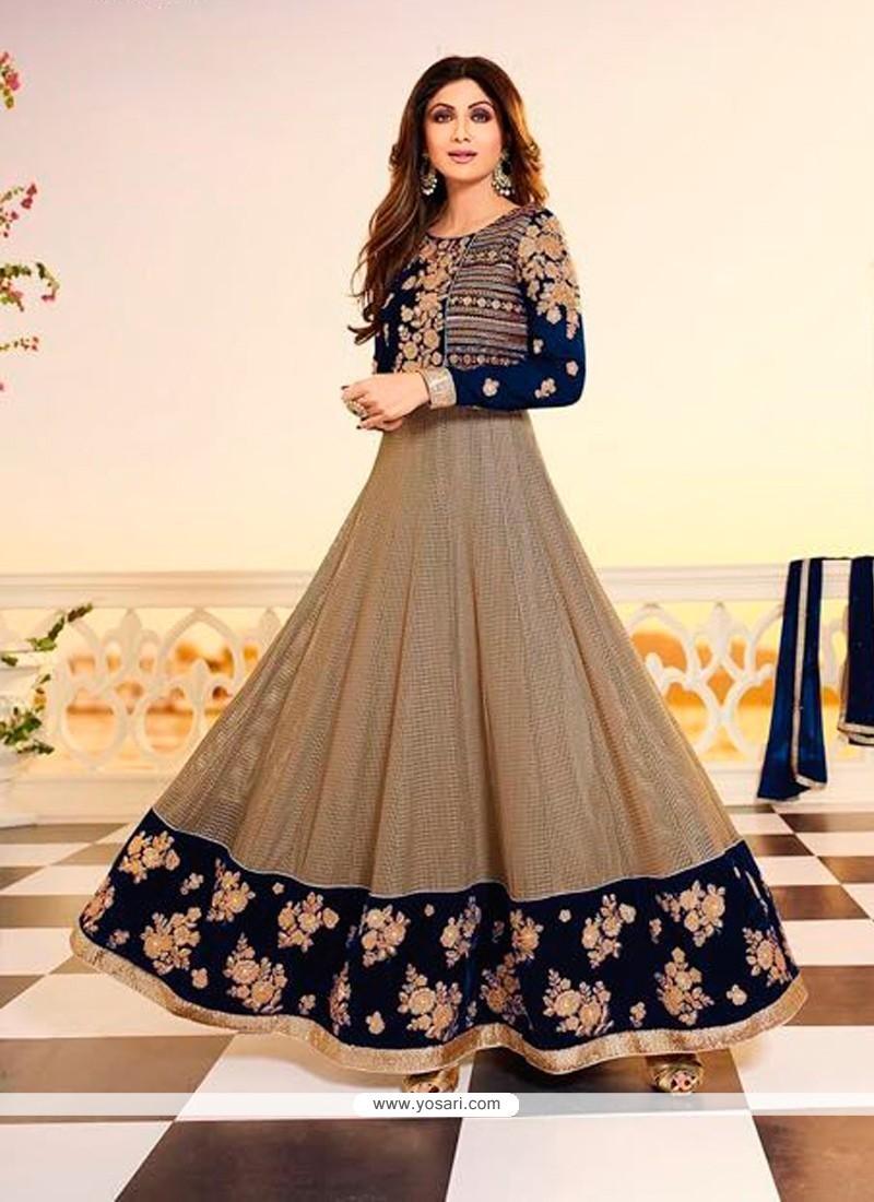 Shilpa Shetty Navy Blue Anarkali Salwar Kameez