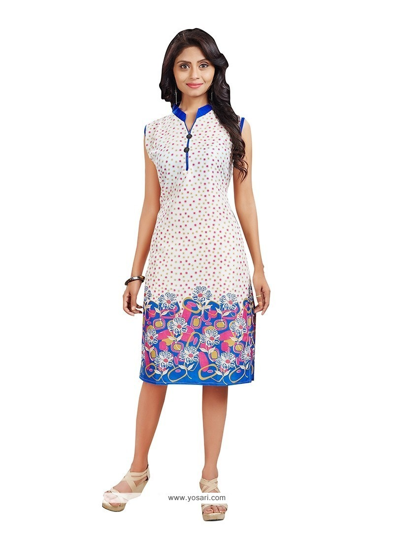 Whimsical Off White Casual Kurti