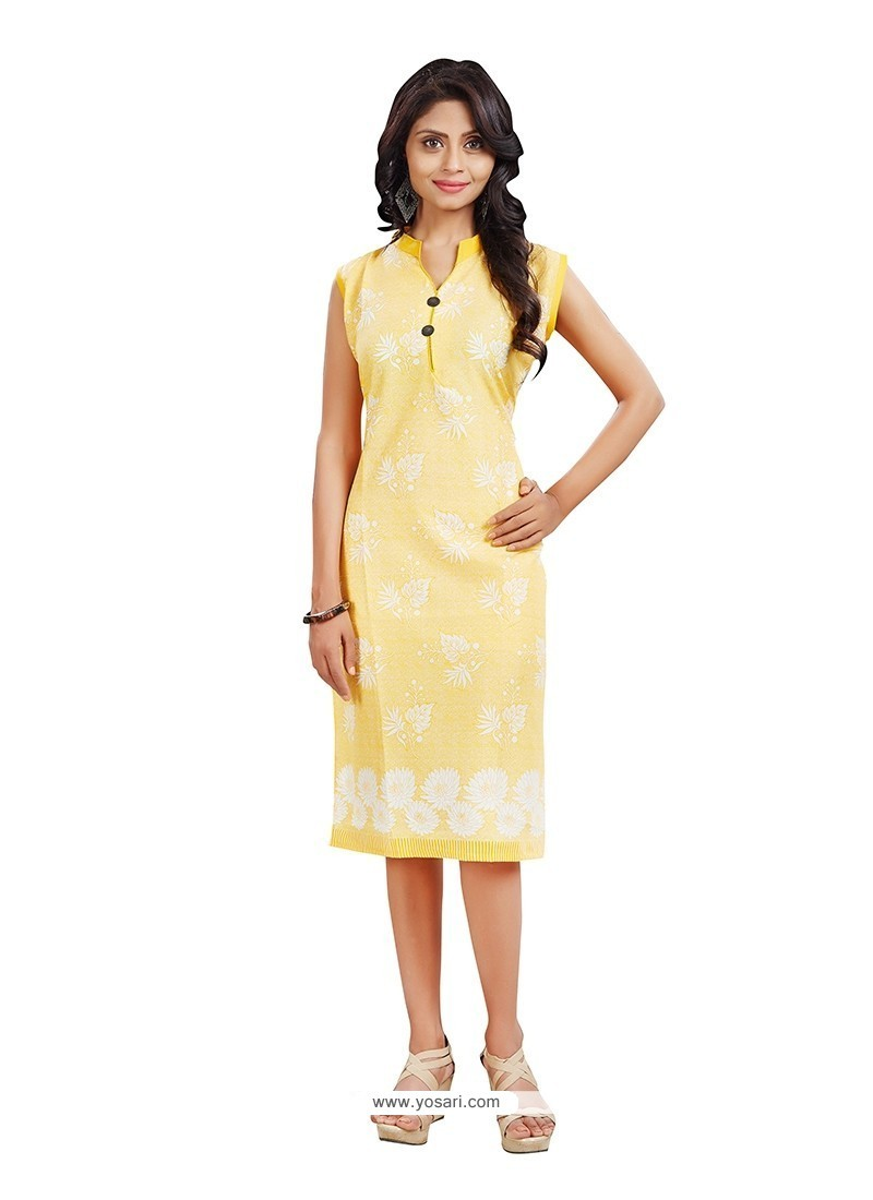 Exceptional Yellow Print Work Casual Kurti