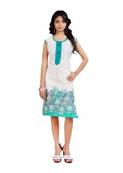 Lustre Cotton Print Work Casual Kurti