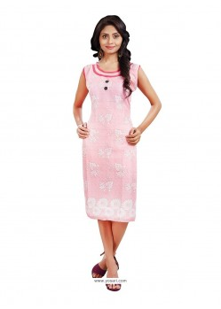 Bewitching Cotton Pink Print Work Casual Kurti