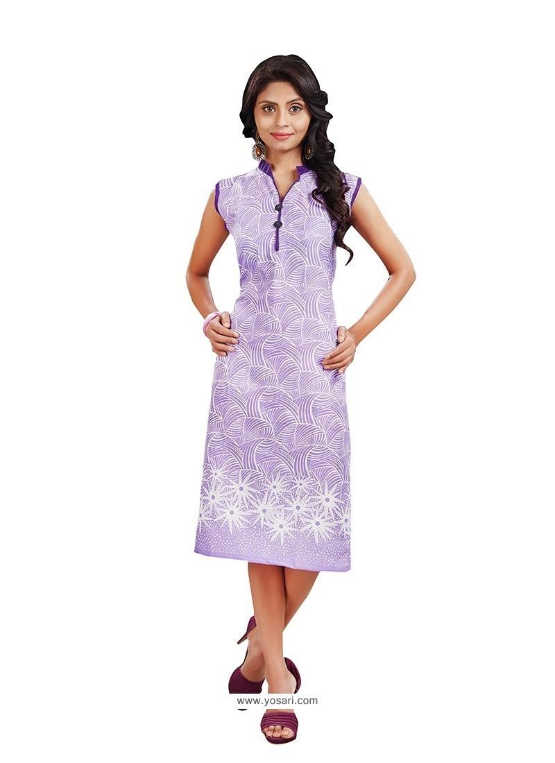 Adorning Cotton Purple Print Work Casual Kurti