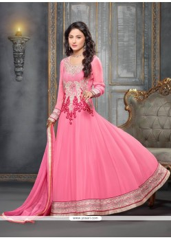Beautiful Pink Embroidery Anarkali Suit