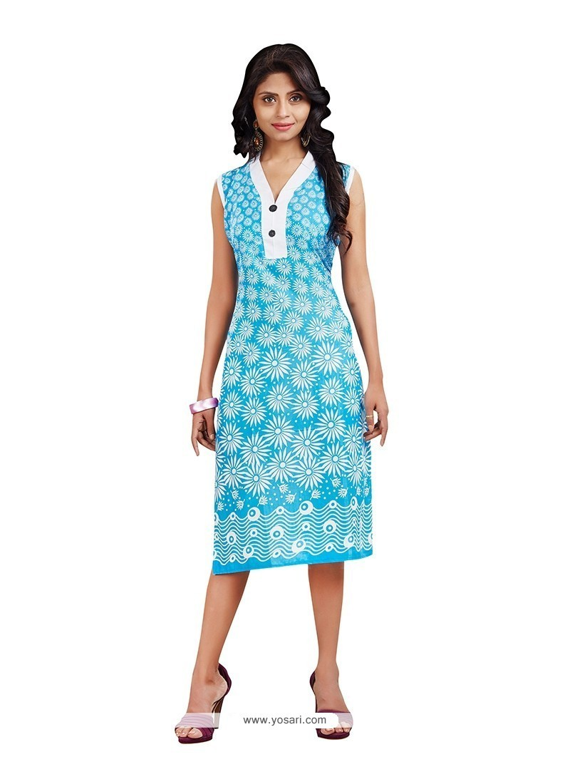 Beguiling Cotton Turquoise Casual Kurti