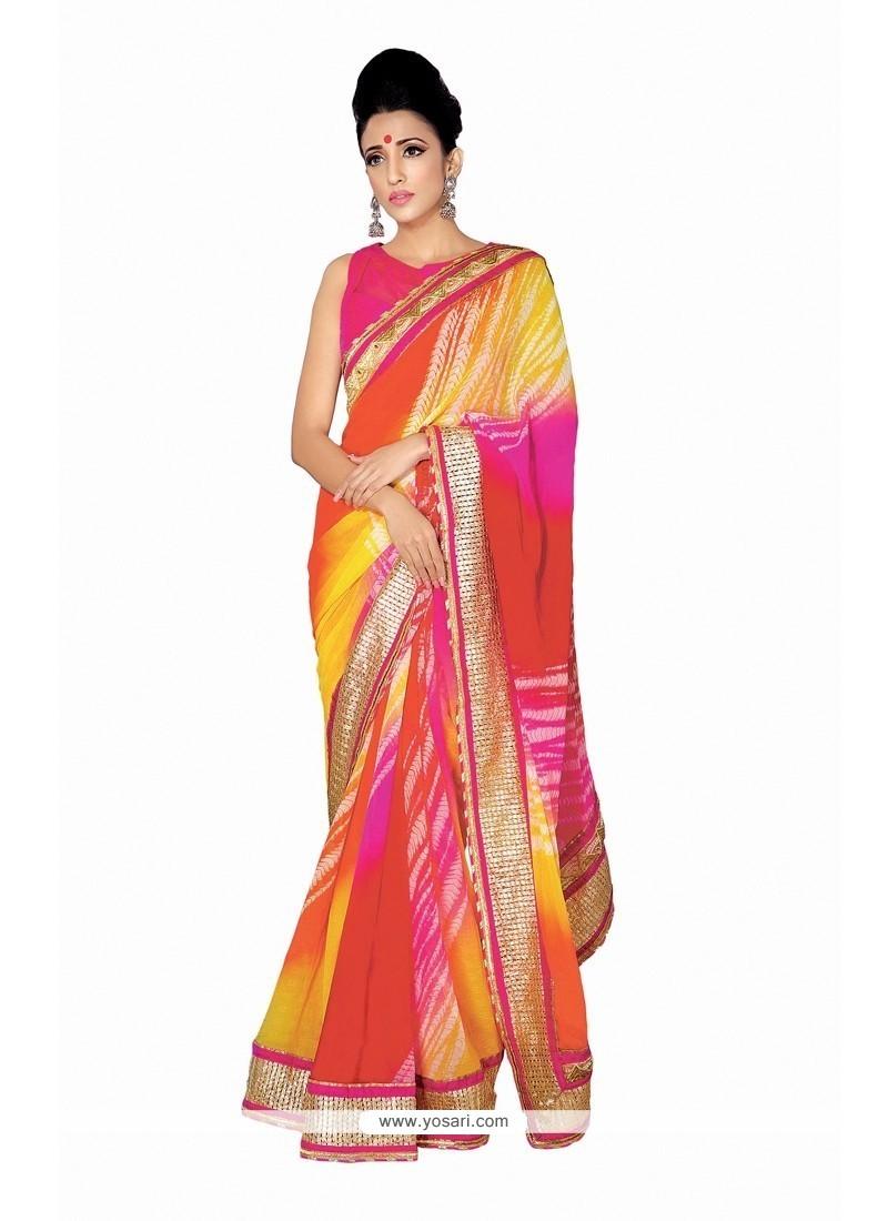 Stupendous Georgette Multi Colour Designer Saree