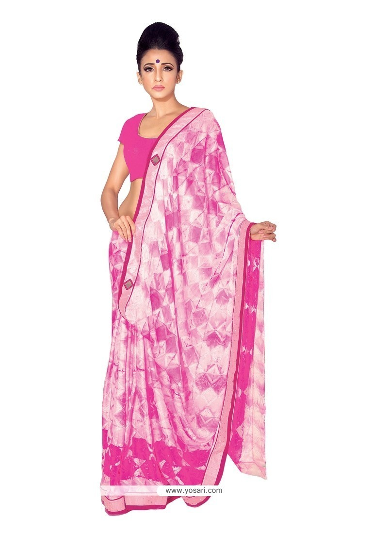 Blooming Art Silk Off White Print Work Designer Saree
