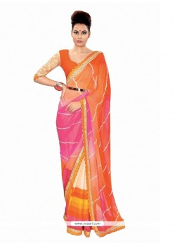 Flawless Patch Border Work Georgette Designer Saree