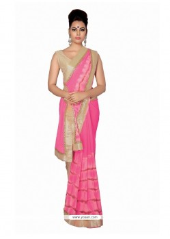 Enchanting Patch Border Work Hot Pink Faux Chiffon Designer Saree