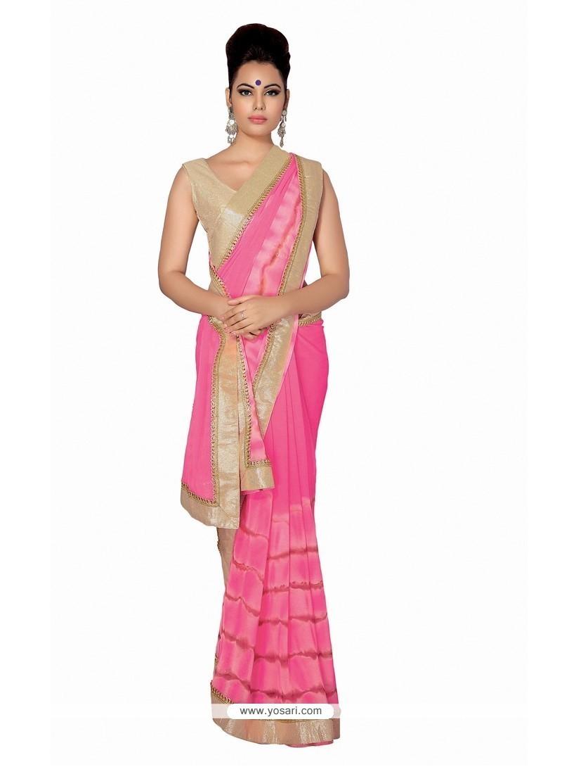Enchanting Patch Border Work Hot Pink Faux Chiffon Designer Saree