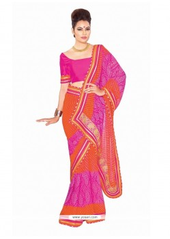 Fascinating Georgette Hot Pink Patch Border Work Designer Saree