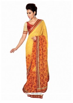 Zesty Yellow Patch Border Work Georgette Designer Saree