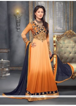 Peach And Orange Shaded Georgette Anarkali Suit