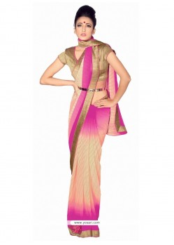 Picturesque Hot Pink Patch Border Work Georgette Designer Saree