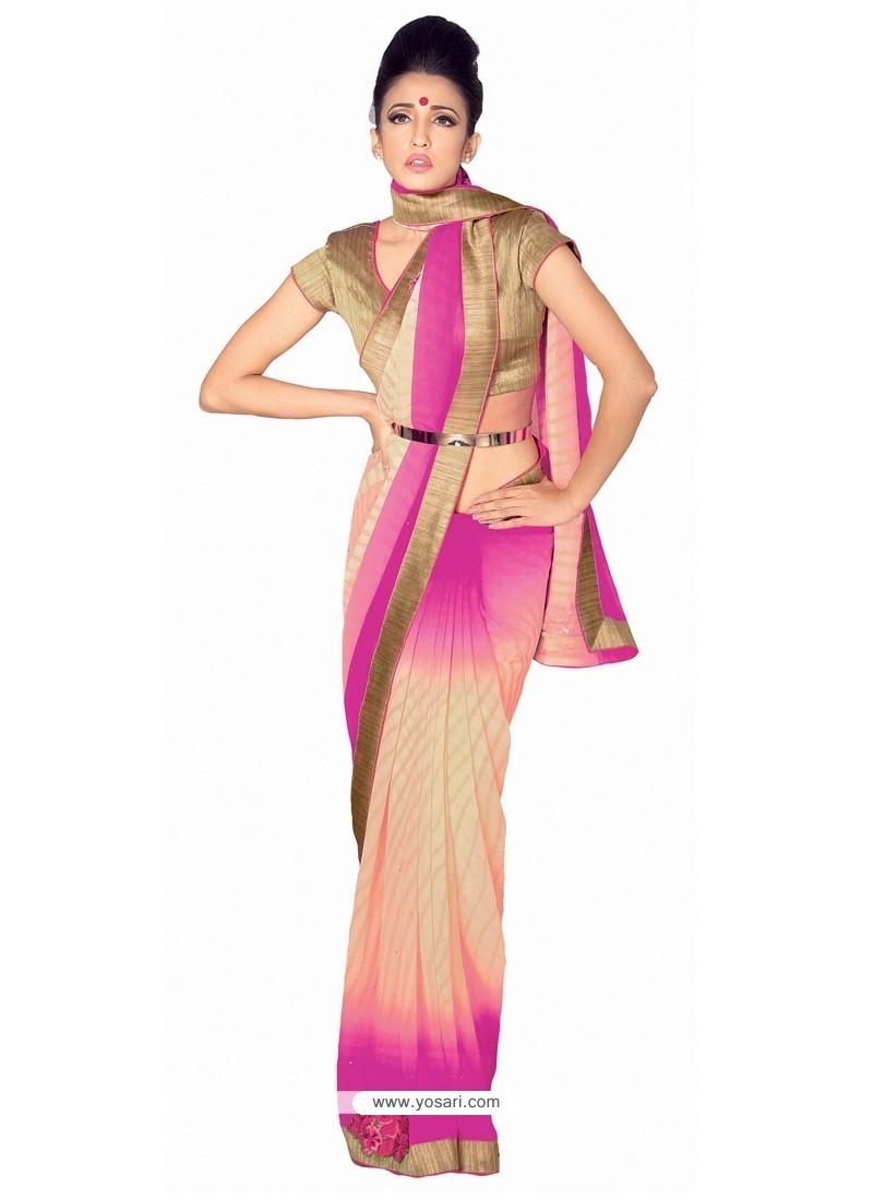 Picturesque Hot Pink Patch Border Work Georgette Designer Saree